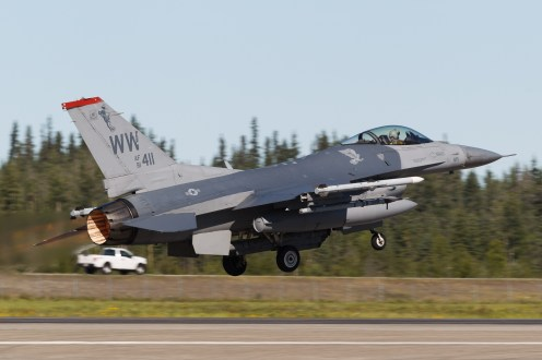 © Mark McGrath - F-16CM-50-CF (91-0411) of the 13th FS being flown by pilots of the 14th FS takes off from during Red Flag Alaska 17-2 - Red Flag Alaska 17-2
