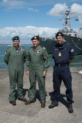 © Duncan Monk - Commodore Betton Colonel Kelly Captain Houlberg - USS George H W Bush CVN 77