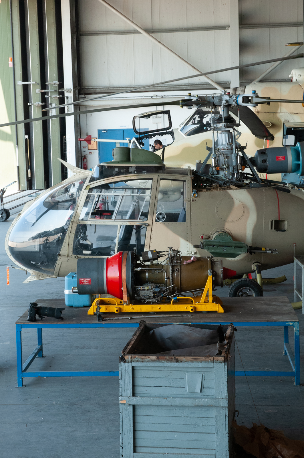 © Duncan Monk - Cypriot Air Command Mil Mi-35P Hind F and Gazelle in maintenance