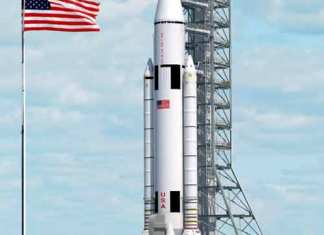 SLS rocket and USA flag picture