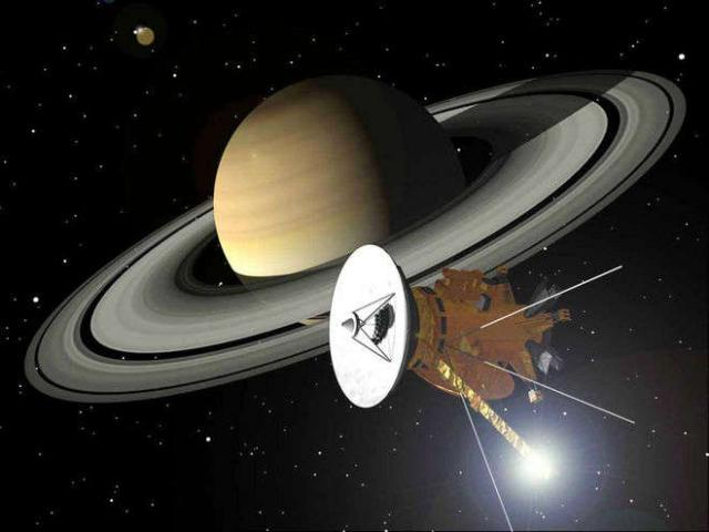 Cassini orbiting Saturn