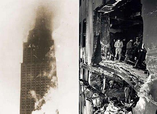 Daños en el Empire State Building, provocados por el impacto del Boeing B-25 Mitchell.