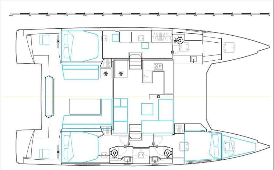 Bavaria Nautitech 46 Open 3 cabin Owner Layout