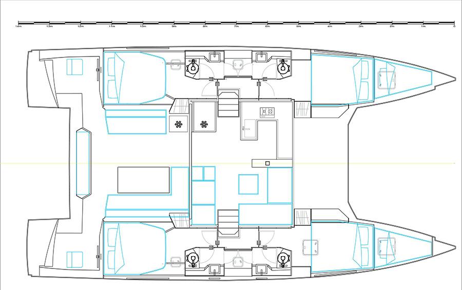Bavaria Nautitech 46 Open 4 cabin Layout