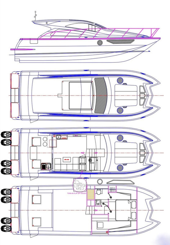 Mares 45 power catamaran outboards