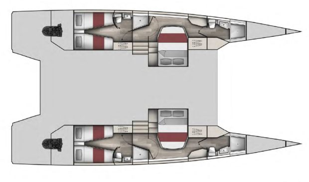McConaghy multihulls MC50 catamaran 4 cabin Layout