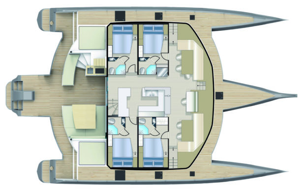 Neel 65 trimaran 4 cabins Layout and Accommodations Plan