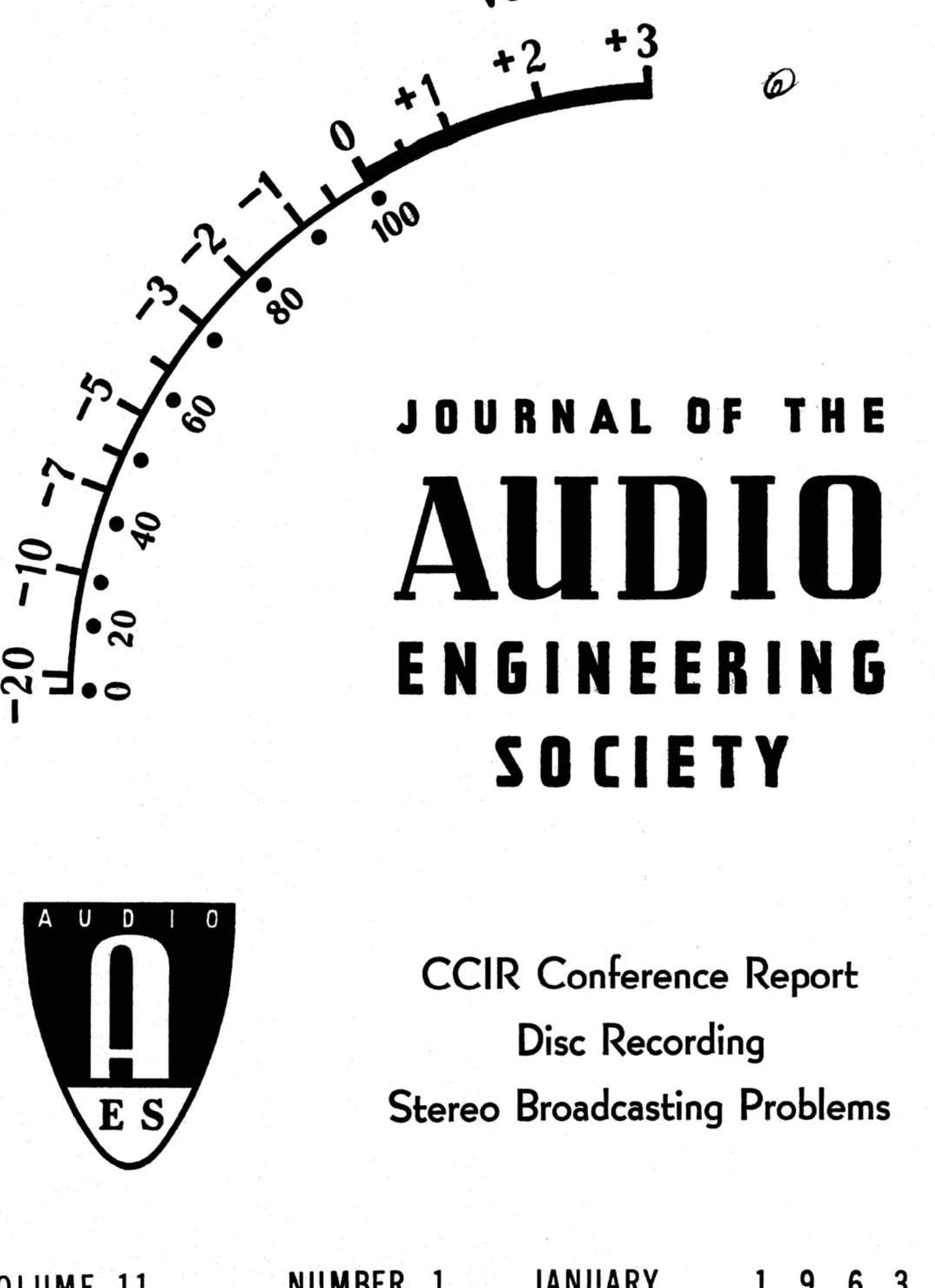 Aes E Library Complete Journal Volume 11 Issue 1