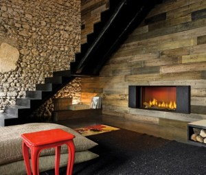 A Modern Rustic lounge room featuring a fireplace.