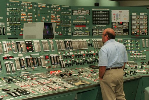 THREE MILE ISLAND, PA.--JULY 14, 1998--Three Mile Island (TMI) Nuclear Plants, the site of the country's worst nuclear accident in 1979, is up for sale by GPU Nuclear, the company that owns and operates the plant. Ken Gramilch, one of the control room operator, monitors instrument panels for the primary nuclear sites of TMI plant. photo by Kenneth K. Lam/staff