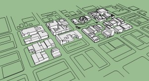 This is a bird's eye's view of the finalized SketchUp model with surrounding context.