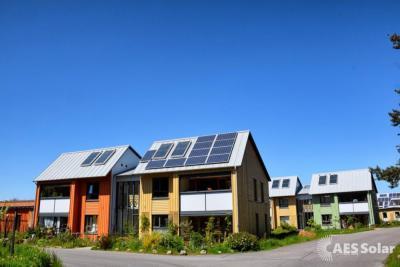 Housing estate in Findhorn, Scotland with Solar