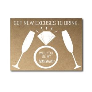 Drinking themed Bridesmaid Ask Card
