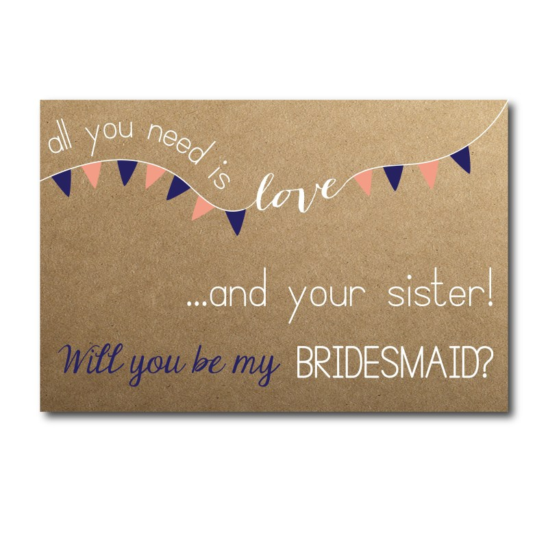 All You Need is Love Bridesmaid Ask Card