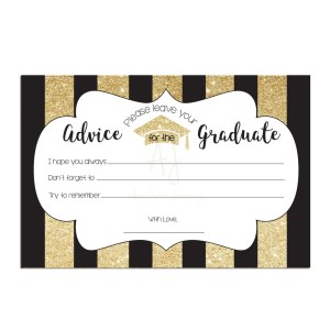 Gold Striped Graduation Advice Cards