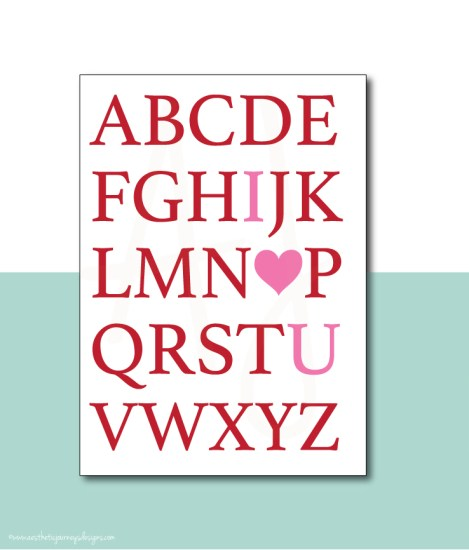 "Easy Valentines Day Decor Alphabet ""I Love You"" Sign"