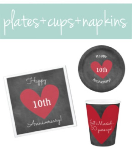 Anniversary Plates, Cups, and Napkins