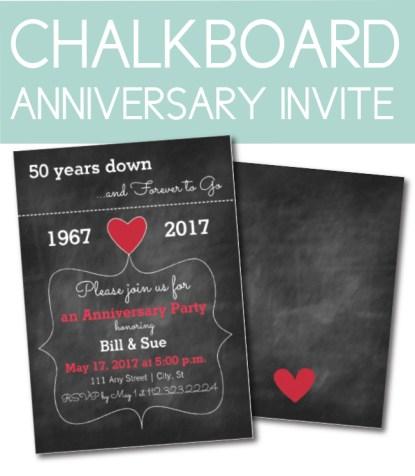 Chalkboard Anniversary Invite