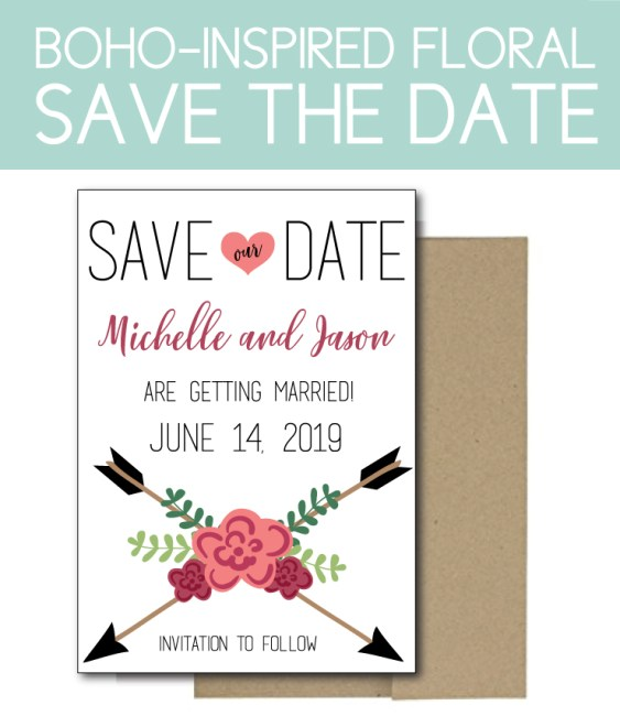 Boho-Inspired Save the Date with Floral Accents
