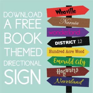 Download a free book themed directional sign