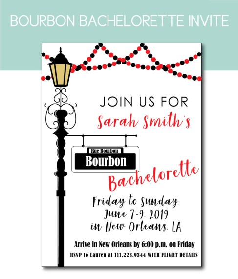 Bourbon Bachelorette Party Invite