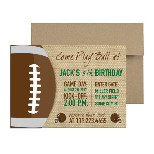 Burlap Football Themed Invite