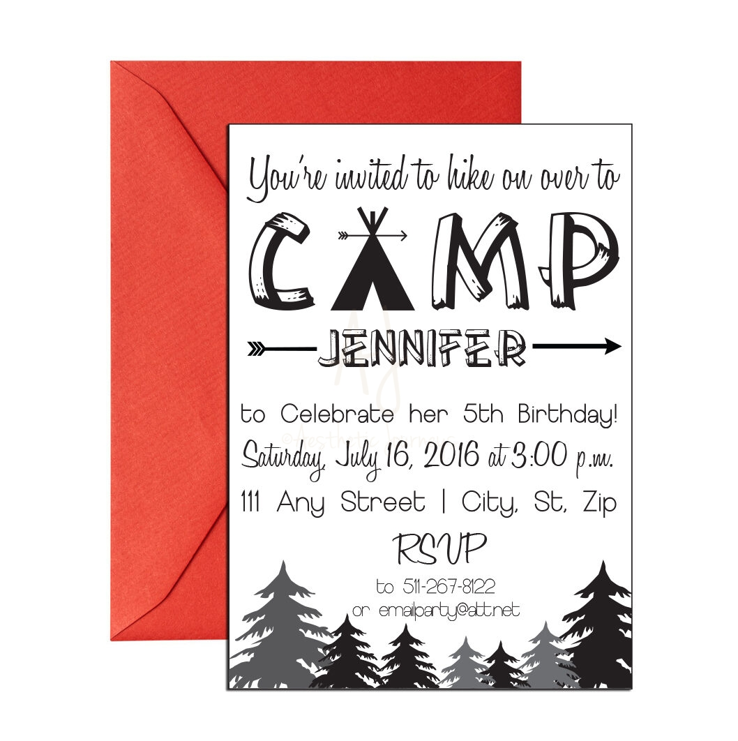 Modern camping invites for birthdays frieze invitations and camping themed invite for birthday envelopes filmwisefo
