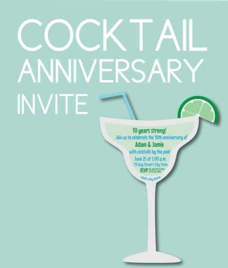 Cocktail Themed Anniversary Invite