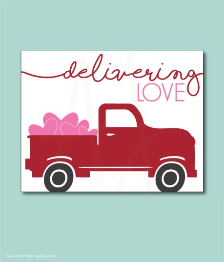 Farm Truck Valentines Decor, Printable Sign