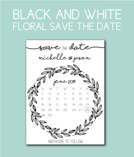Black and White Floral Save the Dates