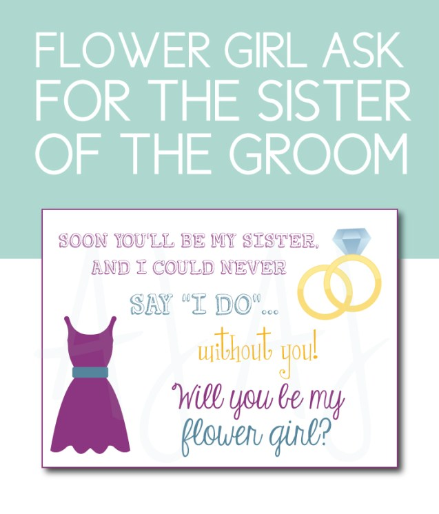 Sister of the Groom Flower Girl Card
