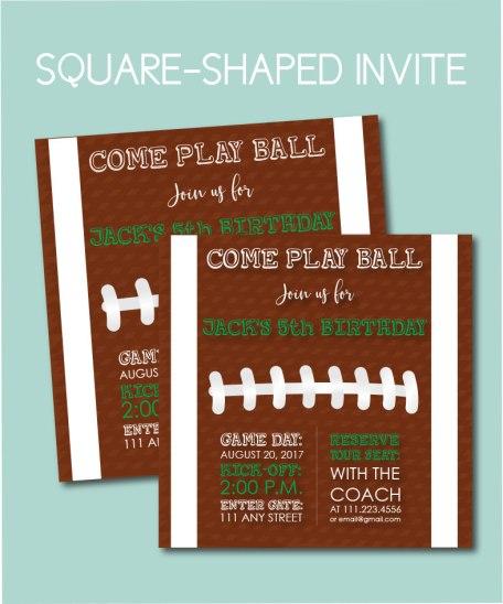 Square Football Invite