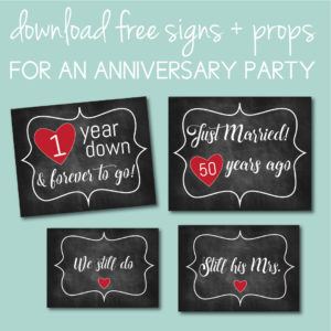 Download Free Anniversary Signs