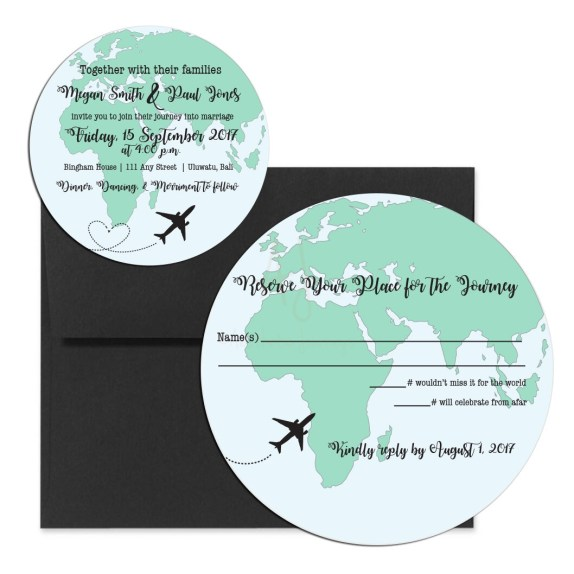 Globe Shaped Wedding Invite with RSVP wording themed for a destination wedding