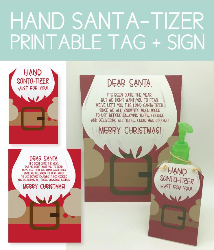 printable tag and sign for hand santa-tizer