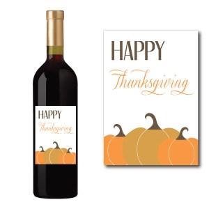 Happy Thanksgiving Wine Bottle Label