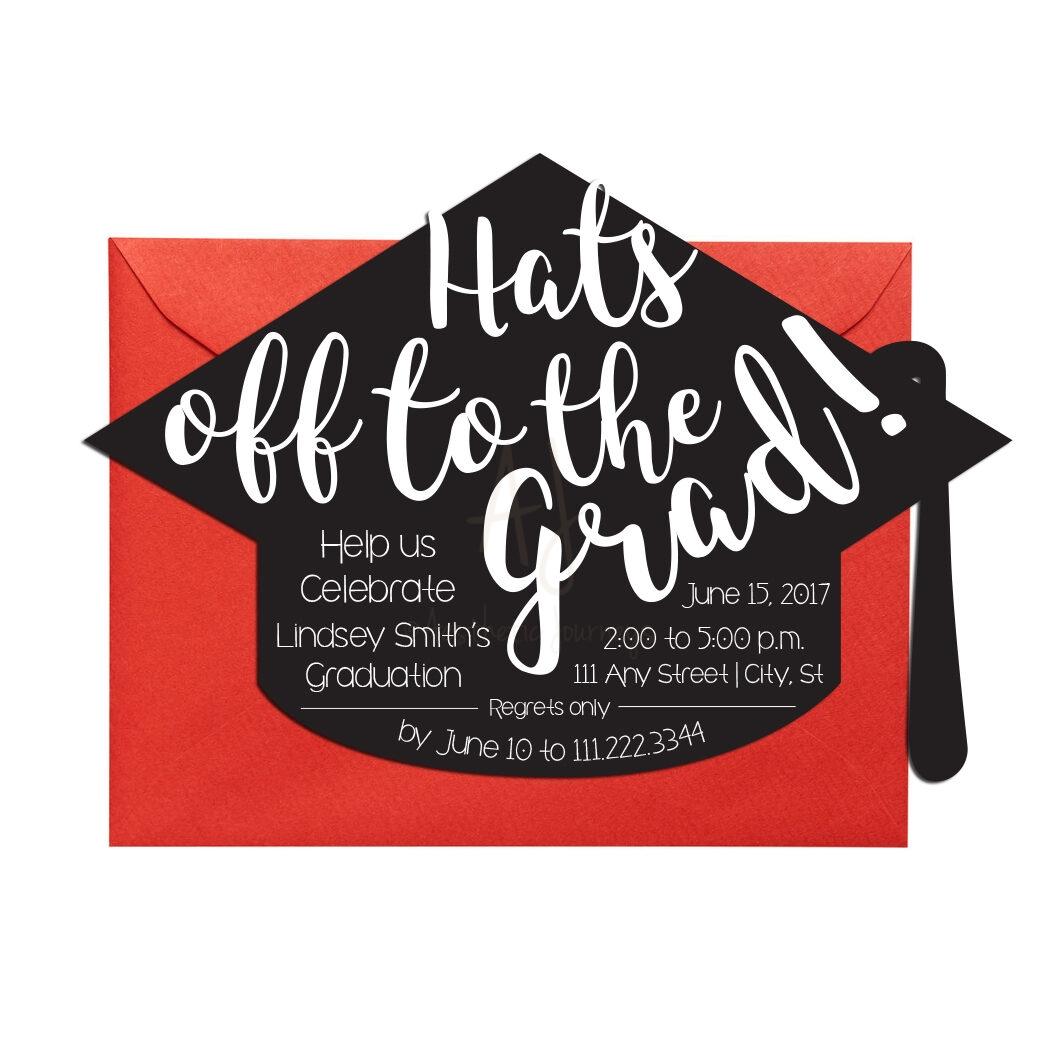 Graduation Invite in Hat Shape + Envelopes -
