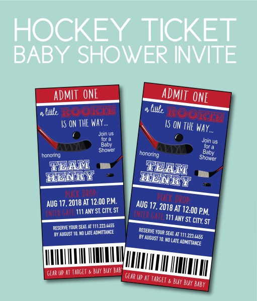 Hockey ticket baby shower invite