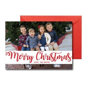 Red and White Photo Christmas Card