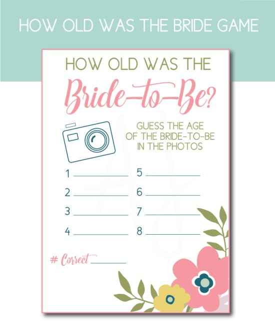 Guess the Bride's Age Bridal Shower game