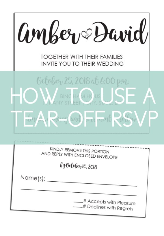 Learn how to use a tear-off RSVP card for your wedding invitations. Add this item to any of our regular shaped wedding invites.
