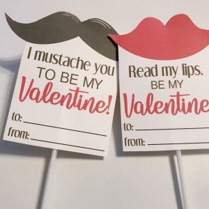 valentine cards with mustache and lips