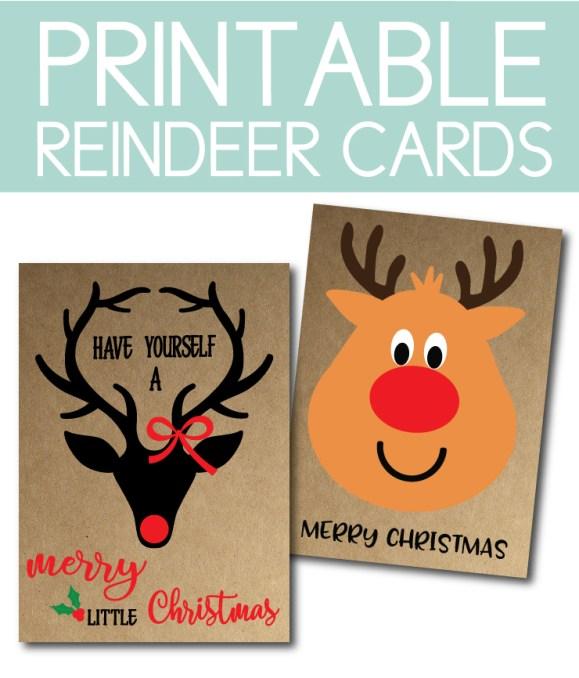 Printable Reindeer Cards