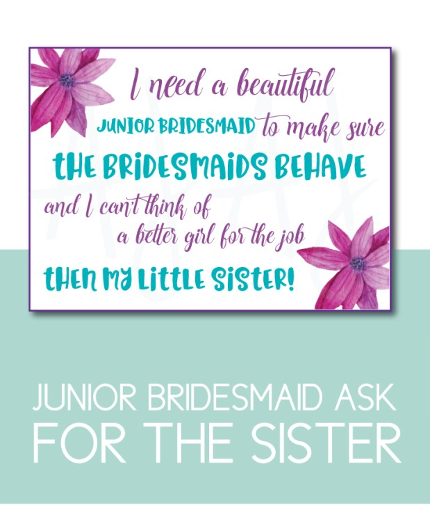 Sister of the Bride Junior Bridesmaid Card