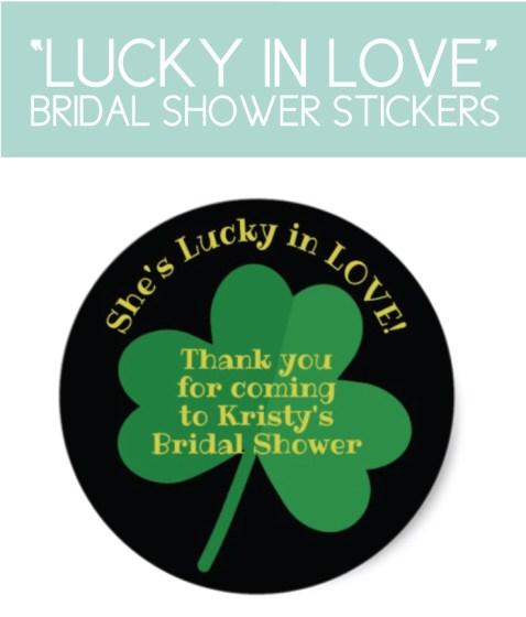 Bridal Shower Thank You Stickers with Irish, Shamrock Theme