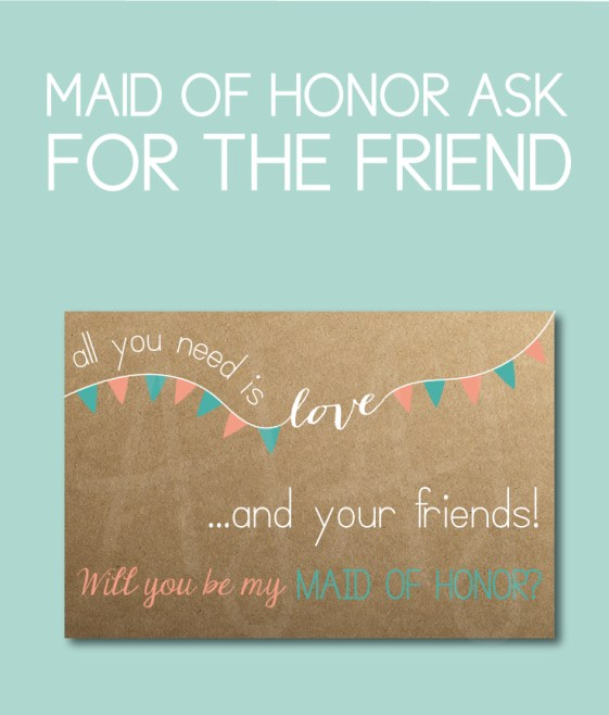 Maid of Honor Bridal party gift for the friend of the bride