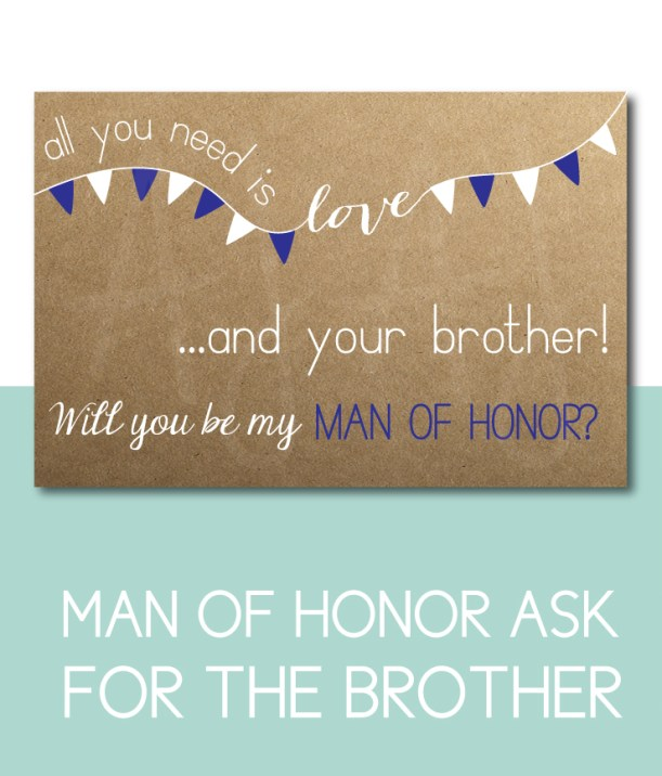 Man of Honor Card for the brother of the bride