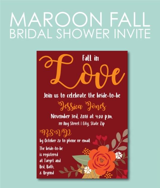 Fall bridal shower ideas 15 printable or pre printed invitations 12 maroon filmwisefo