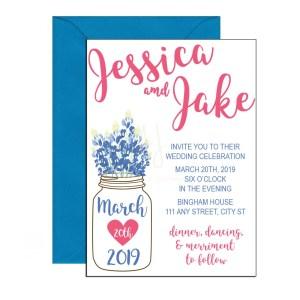 Floral mason jar invitations