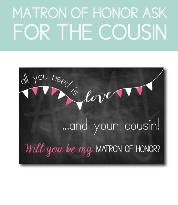 Matron of Honor Bridal Party Gifts for the Cousin